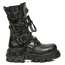 NEWROCK New Rock M.391-S18 Black Boot Metallic Punk Reactor Goth Bikers Boots