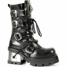 NEWROCK 373-S3 Ladies Black BIKER Leather Heel Boots GOTH PUNK EMO NEW ROCK Boot