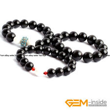 Natural Black Obsidian Handmade Beaded Round Stretchy Healing Bracelet 7.5""