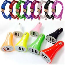 3.1A DUAL USB IN CAR BULLET CHARGER+DATA CABLE FOR HTC ONE MINI M4