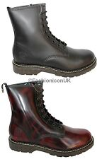 Grinders Cedric Black Burgundy Boot 8 Eyelet Derby Lace Non Safety Leather Boots
