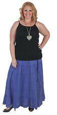 New Plus Size Blue Cotton Tiered Skirt | Size 18 20 2 22 24 26 28 Cotton Lined