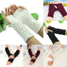 Hot Sale Unisex Women Lady Knitted Fingerless Winter Half Finger Gloves Warm New