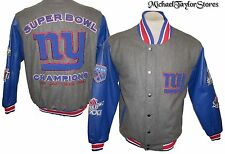 New York Giants Men's L 4x Super Bowl Champions Wool w/ Leather Jacket NFL A5TL