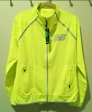 NEW Men M NEW BALANCE Hi Viz Beacon Lightweight Reflective Running Jacket YELLOW