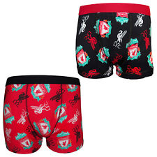 Liverpool FC Official Soccer Gift Mens Crest Boxer Shorts YNWA Liverbird