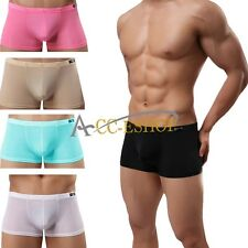 Hot Sexy Men Fancy Smooth Sheer Underwear Boxer Briefs Boxer Trunks Pants Shorts