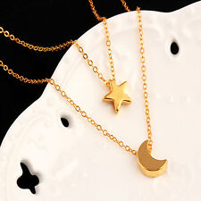 Hot Sale Star Moon Chain Necklace Summer Multilayer Chain Jewelry For Women Muje