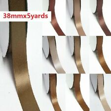 """5 Yards Single Sided YAMA High End Satin Ribbon 1.5"""" /38mm Ivory to Brown"""