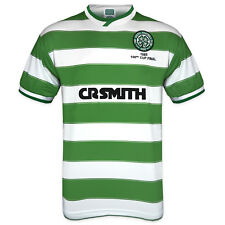 Celtic FC Official Soccer Gift Mens 1985 Cup Final Retro Home Kit Shirt Green