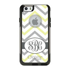 Monogram OtterBox Commuter for iPhone 5S 6 6S Plus White Grey Yellow Chevron