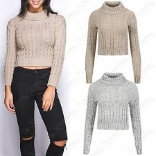 NEW WOMENS CABLE KNIT CROP POLO NECK JUMPER LADIES KNITTED LONG SLEEVE TOP LOOK