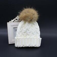 Women Winter Hats Crochet Fur Wool Knit Beanie Hat Raccoon Warm Cap Xmas Gifts