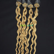 "20"" Loop Mirco Ring Beads Tipped Remy Human Hair Extensions Curly Deep Wave #613"