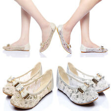 Comfy Bow Lace Gauze Almond Shaped Toe Dreamy Wedding Ballet Flats Pumps Shoes