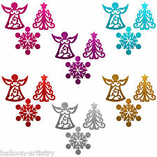3 Festive 30cm Glitter Christmas Tree Snowflake Angel Hanging Decorations