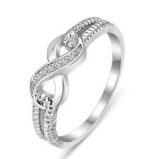 INFINITY LOVE 925 CZ STERLING SILVER ENGAGMENT RING WEDDING BAND SZ 3-10 SS2052