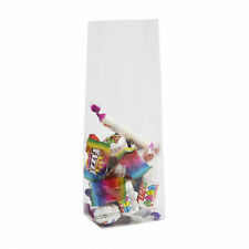 25 x CLEAR BLOCK BOTTOM CELLOPHANE GIFT BAGS WITH CARDBOARD BASE - 110MM X 220MM