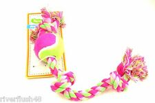 LIMA BEAN FETCH TENNIS BALL AND ROPE TUG TOSS TOY FOR MED TO LARGE DOGS UNISEX