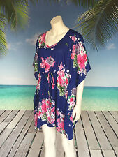 Blooming floral print | long tunic top | cotton kaftan beach dress | Holley Day
