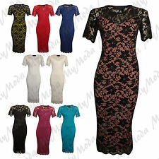 Ladies Womens Plus Size Twin Layer Floral Lace Bodycon Contrast Midi Dress 14-28