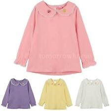 Sweet Long Sleeve Baby Kids Girl Butterfly Embroidery T-Shirt Blouse Tops V9GZ
