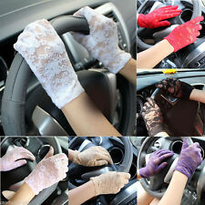 Women Elegant Lace Gloves Floral Wedding Evening Party Driving Sunscreen Gloves