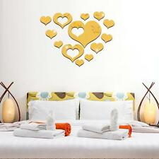 13pcs Mirror Effect Stickers Heart Shaped Set Wall Decal for Home DIY Decor WC66