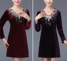 BURGUNDY/PURPLE VELVET EMBROIDERY FLOWER DRESS/TUNIC TOP 3176 SIZE S M L XL