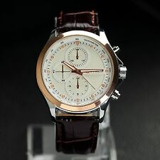 CURREN Luxury Rose Gold Case Genuine Leather Band Men Casual Fashion Wrist Watch