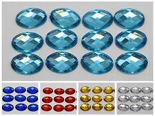 250 Acrylic Flatback Faceted Oval Rhinestone Gems 8X10mm No Hole Pick Your Color