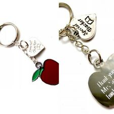 Personalised Handmade Special Teacher/Thank You with Apple Charm keyring.Gift