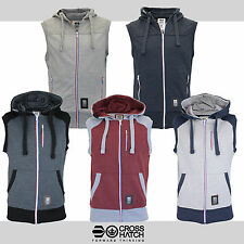 Mens Crosshatch  Zip Up Sleeveless Bodywarmer Hooded Gilet Sweat Top Jacket Gym