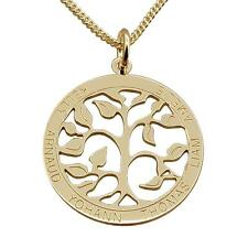 9ct Yellow Gold Personalised Filigree Tree Of Life Family Pendant Chain Option