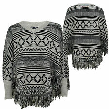 Womens Ladies Knitted Aztec Poncho Tassels Cape Pullover V-neck Top Jumper
