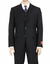 Men's Classic Fit Solid Black Two Button Three Piece Wool Suit
