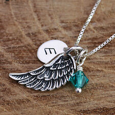 925 Sterling Silver Personalized Angel Wing Pendant Chain Necklace & Birthstones