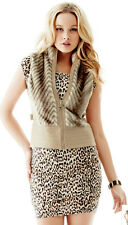 NWT GUESS Chevron Sleeveless Faux Fur Leather Vest Beige Brown XS 1 2 3