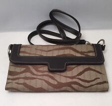 Brown Tan  Animal Print Canvas Purse Flat Clutch Wallet Checkbook Cover & Mirror