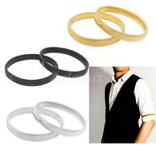 SHIRT SLEEVE HOLDERS METAL STRECHY ARMBANDS GOLD/SILVER/BLACK 2PCS