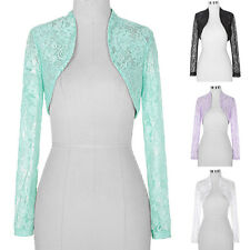 NEW LADIES WOMENS CROPPED LACE LONG SLEEVE SHRUG BOLERO JACKET CARDIGAN TOP