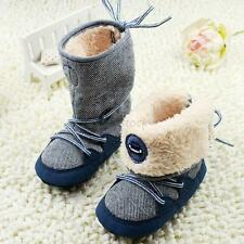 Infant Toddler Kid Winter Warm Baby Boys/Girls Snow Boots Lace Up Sole Shoes F67