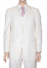 Sean John Classic Fit Cream White Tonal Striped Three Piece Suit With Peak Lapel