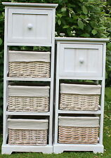 3 & 4 DRAWER WOOD & WICKER STORAGE UNITS - COMPACT