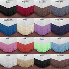 EXTRA DROP SINGLE  SIZE 1000TC EGYPTIAN COTTON MULTI RUFFLE BED SKIRT 20 COLORS