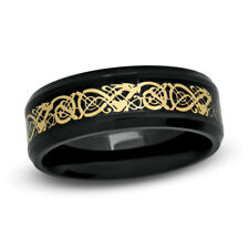 Tungsten Carbide Ring Men's Wedding Band Dragon Inlaid Size 7-13