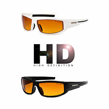 HD+ Sport Night Driving Sunglasses High Definition Vision Orange Wrap Glasses