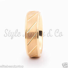Tungsten Carbide Ring Men's Wedding Band Gold Color  Size 7-13