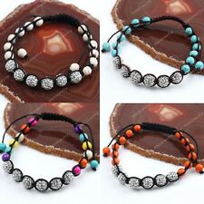 1x Howlite Turquoise Rhinestone Disco Ball Spacer Beads Macrame Bangle Bracelet
