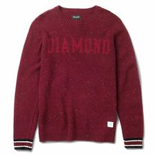 "Diamond Supply Co ""College Knit"" Crewneck Sweater (Burgundy) Men's Long Sleeve"